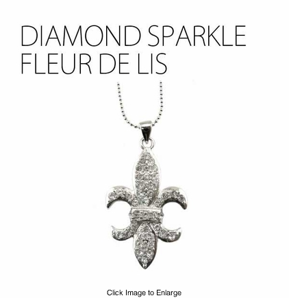 Diamond Sparkle Fleur de Lis Necklace