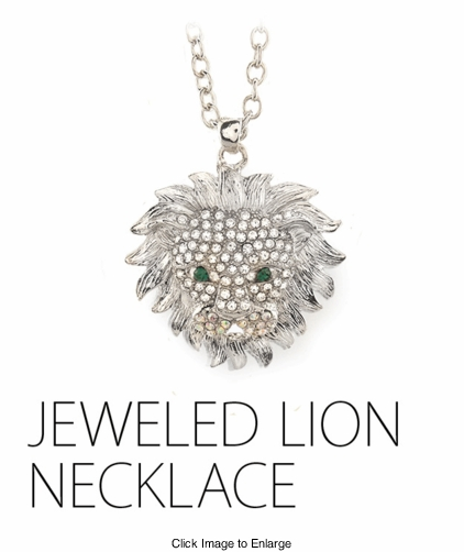 Retro Style Crystal Lion Necklace