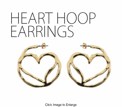 "1.5"" Gold Tone Hammered Heart Hoop Earrings"