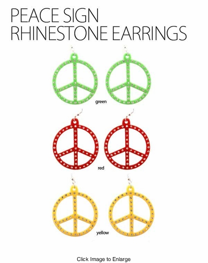 "1.75"" Peace Sign Hippie Earrings"