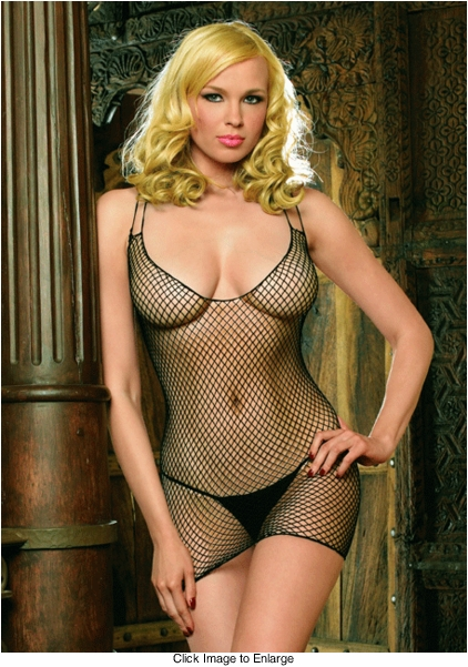Fishnet Mini Dress with Criss Cross Back