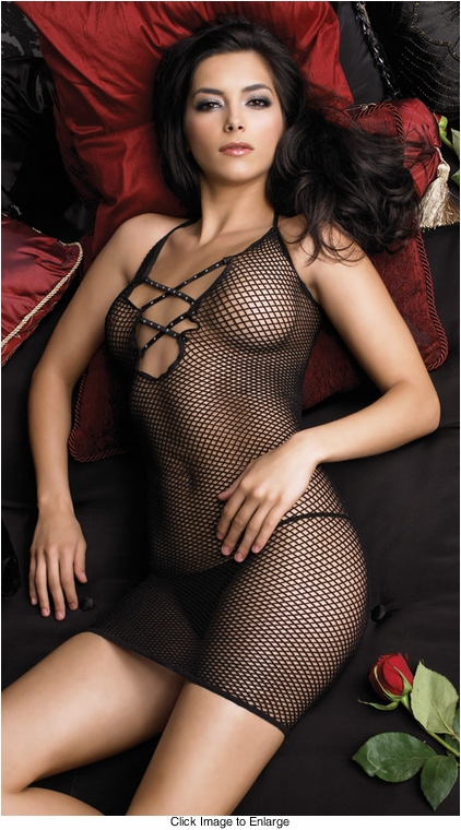 Fishnet Mini Dress with Rhinestone Criss Cross Front