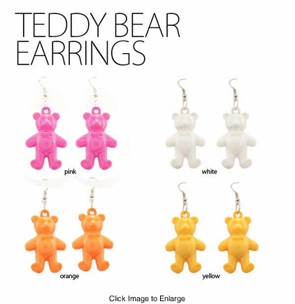 "1.5"" Teddy Bear Earrings"