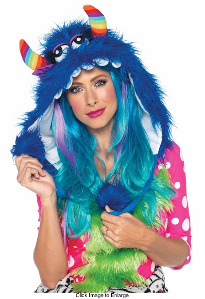 Big Bloo Furry Monster Hood with Pom Pom Ties
