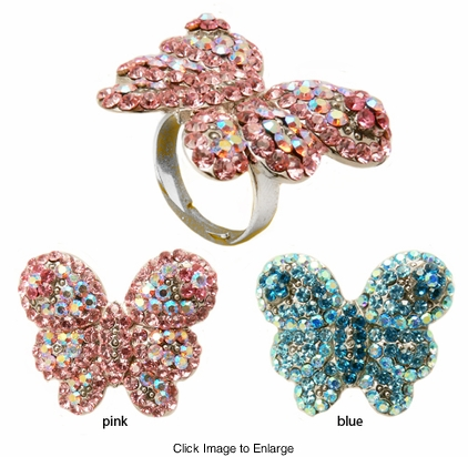 "1.5"" Wide Crystal Butterfly Ring"