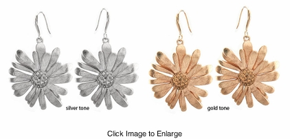 "1.5"" Wide Designer Brushed Flower Earrings"
