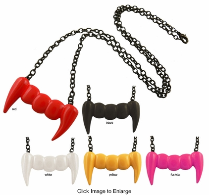 "1.75"" Wide Vampire Fangs Necklace in Bright Colors"