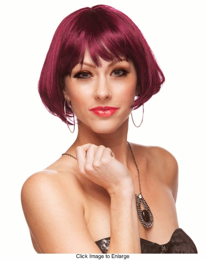 Mini Bob Wig in Burgundy