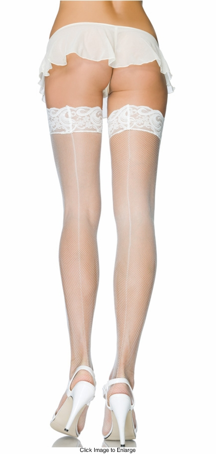Micro Fishnet Stay Up Lace Top Backseam Stockings