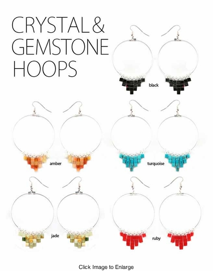 "2"" Gemstone and Crystal Hoop Earrings"