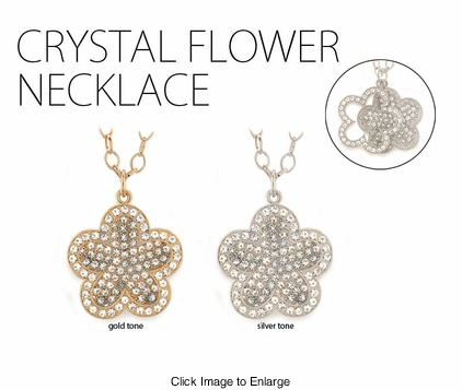 "2"" Jeweled Flower Necklace"