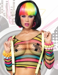 Rainbow Stripe Fishnet Long Sleeve Top