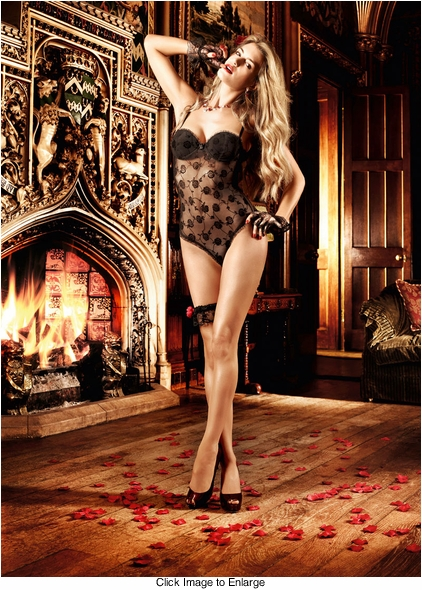 Floral Lace Bodysuit Lingerie With Support Cups