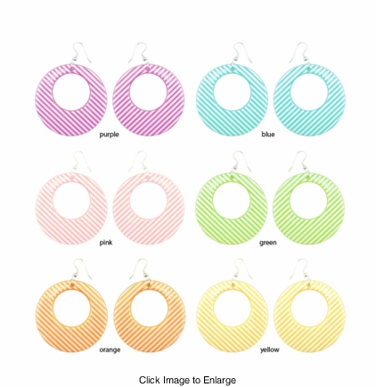 "2.15"" Pastel Stripe Gogo Earrings"