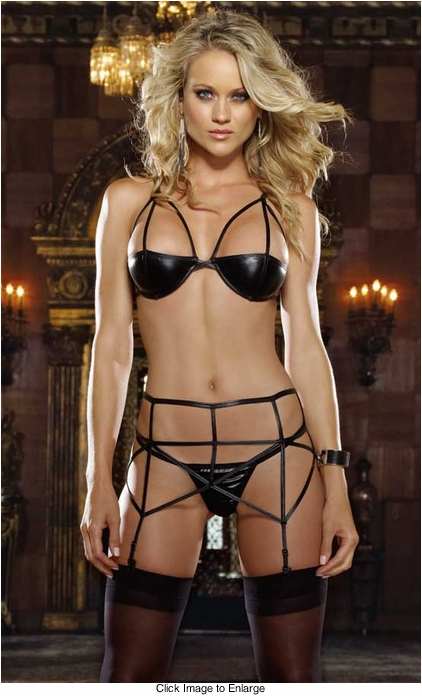 Stretch Leather Look Bra, Garter Belt and Thong