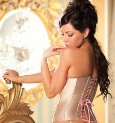 Hourglass Satin Contour Corset in Nude and Candy Pink