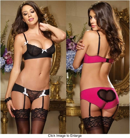 Pinstripe and Lace Bra and Panty with Removable Garters