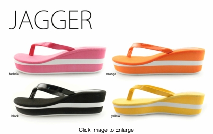 "2.15"" Stripe Platform Flip Flops with Patent Leather Thong"