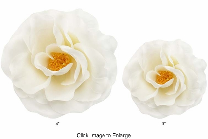 Two White Rose Flower Hair Clips