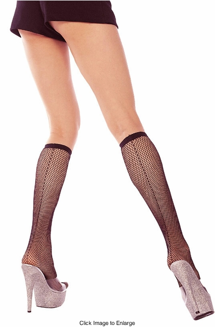 Fishnet Knee Highs with Back Seam