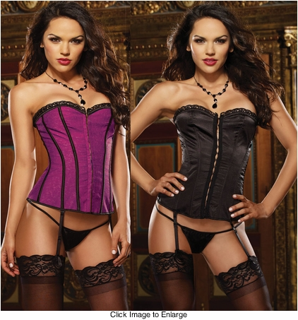 Reversible Purple to Black Satin Corset and Thong