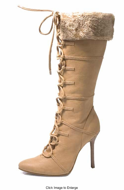 "4"" Faux Suede  Boots with Lacing and Fur Trim"