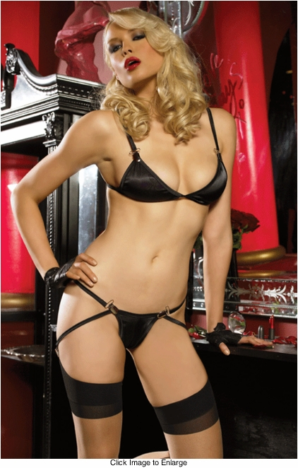 Secret Desires Satin Bra and Gartered G-string