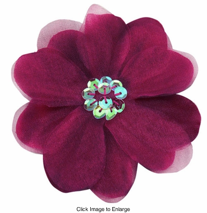"3.5"" Purple Flower Hair Clip with Chiffon Overlay and Sequin Center"