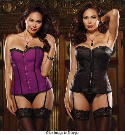 Plus Size Reversible Purple to Black Satin Corset