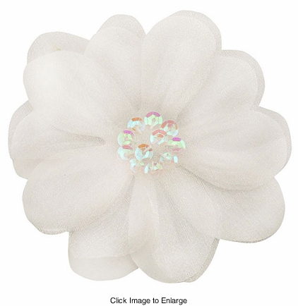 "3.5"" White Flower Hair Clip with Chiffon Overlay and Sequin Center"
