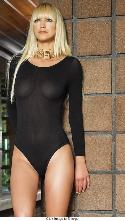 Nylon Long Sleeve Bodysuit Lingerie