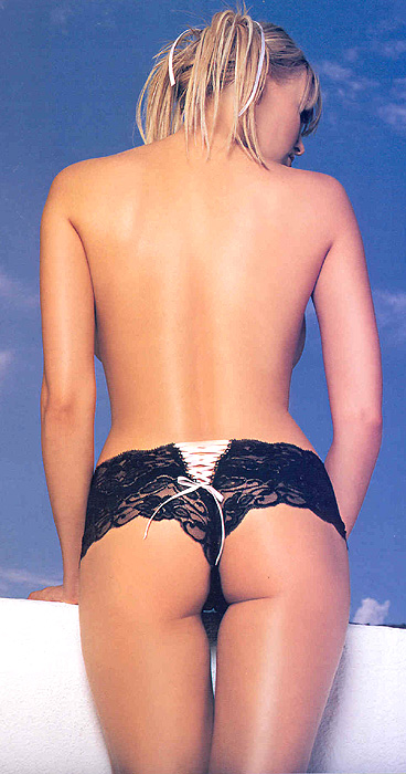 Brazil Tanga  Lace Shorts with Contrast Lacing
