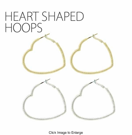 Satin Heart Shaped Hoop Earrings