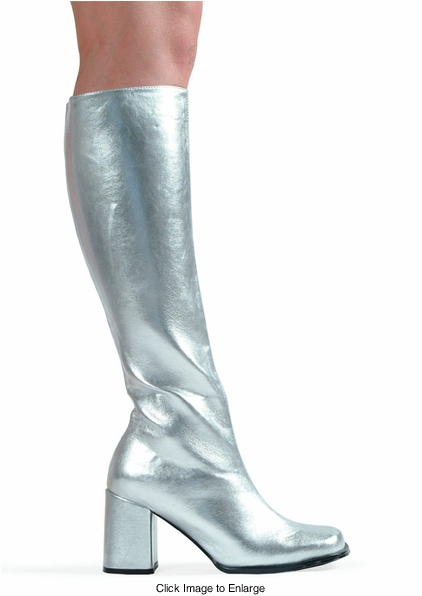"3"" Go-go Boots in Silver Vinyl Patent Leather"