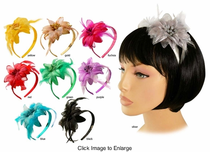 "3.5"" Tropical Flower Headband with Feather Accents"