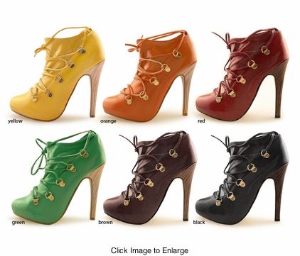 "4.5 Hidden Platform Lace Up Pump Booties ""Shoji"" from Michael Antonio"