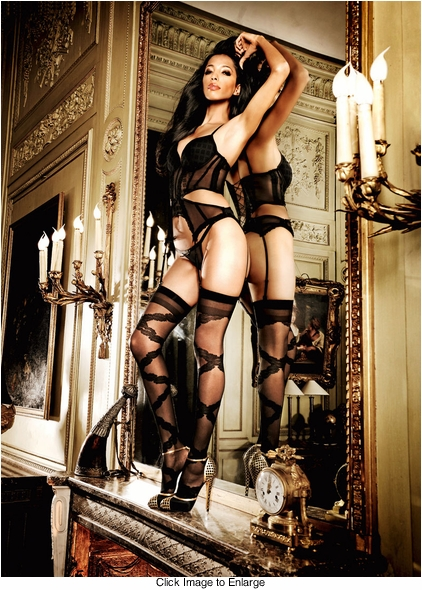 Sheer Stockings with Floral Diamond Pattern