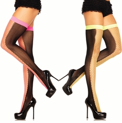 Contrast Two Tone Fishnet Stockings