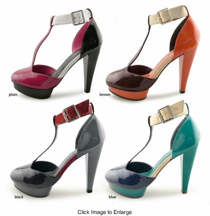 "SALE** 4.5"" Color Block T-strap Shoes ""Edusa"" from Michael Antonio"