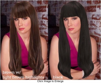 Premium Quality Long Dark Hair Wig with Rich Face Framing Bangs