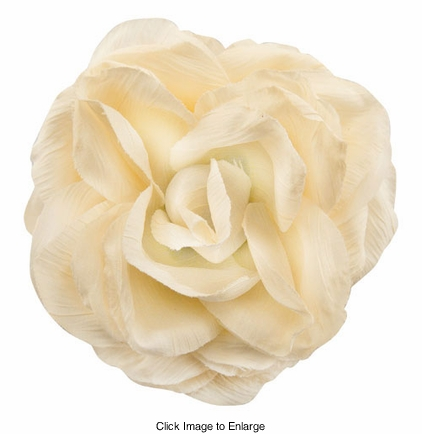 "4"" Crinkle Ivory Rose Flower Hair Clip"