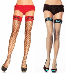 Spandex  Diamond Net Thigh Highs with Contrast Top and Bow