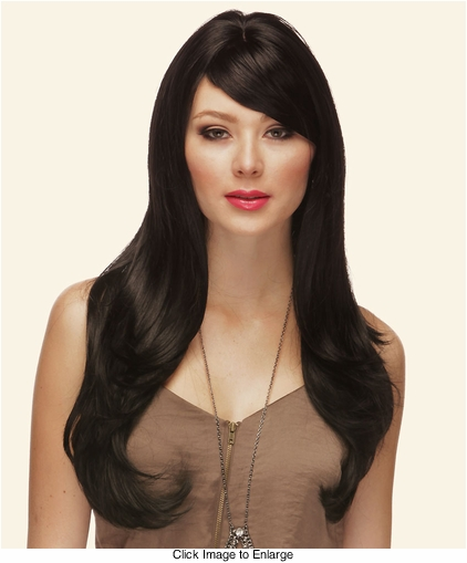 Heat Friendly Long Hair Wig with Smooth Long Layers and Full Bangs