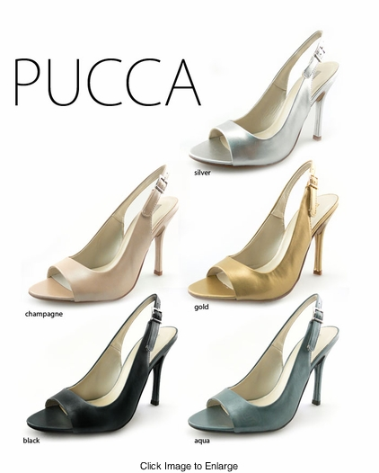 "4.15"" Open Toe Sling Back Pumps ""Pucca"" from Michael Antonio"