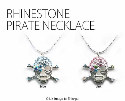"1.15"" Rhinestone Skull Pirate Necklace"