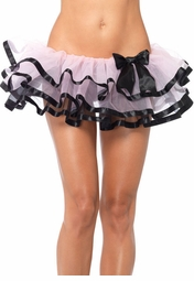 Pink Layered Chiffon Petticoat with Black Ribbon Trim