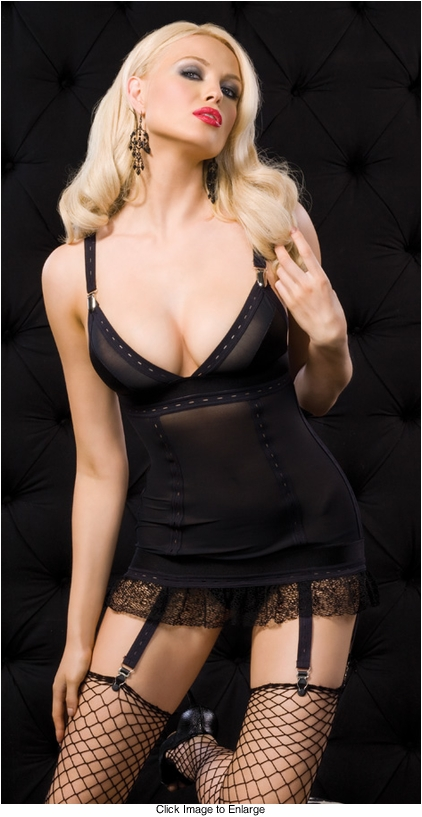 Power Mesh Garter Dress with Mesh Net Trim