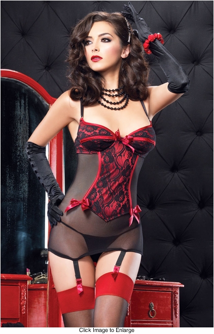 Under-Wire Garter Dress with Corset and Bow Back