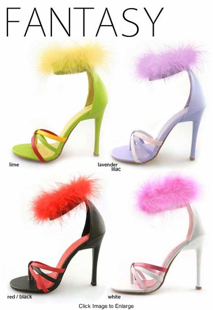 "4"" Sandals with Feather Ankle Strap"