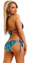 Turquoise Metallic Pucker Back Bikini